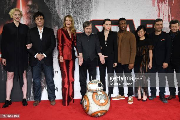 Gwendoline Christie Benicio Del Toro Laura Dern Mark Hamill Daisy Ridley John Boyega Kelly Marie Tran Oscar Isaac and Andy Serkis during the 'Star...