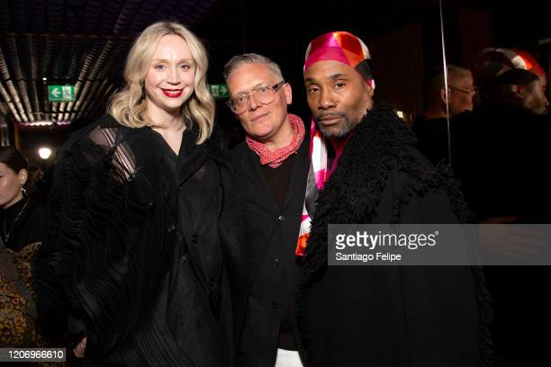 Gwendoline Christie Designer Giles Deacon and Billy Porter attend the 'Love Magazine' party during London Fashion Week February 2020 on February 17...