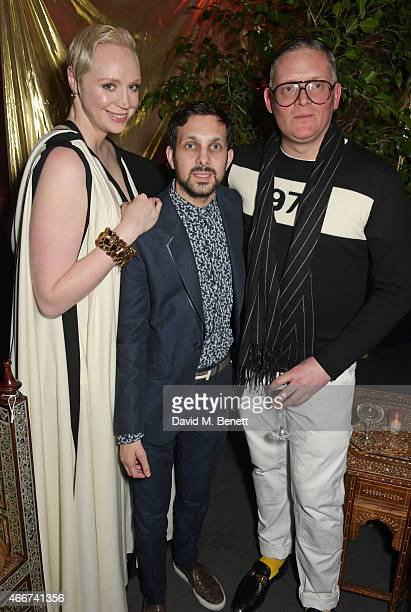 Gwendoline Christie Dynamo and Giles Deacon attend the 'Game Of Thrones Season 5' UK Premiere After Party at the Tower of London on March 18 2015 in...