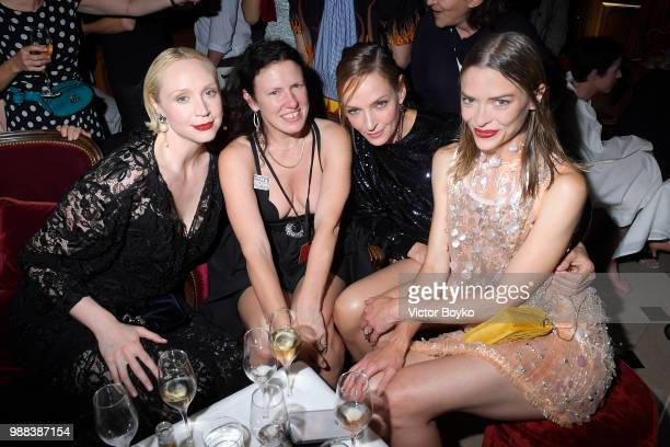Gwendoline Christie Katie Grand Uma Thurman and Jaime King attend Miu Miu 2019 Cruise Collection Show at Hotel Regina on June 30 2018 in Paris France