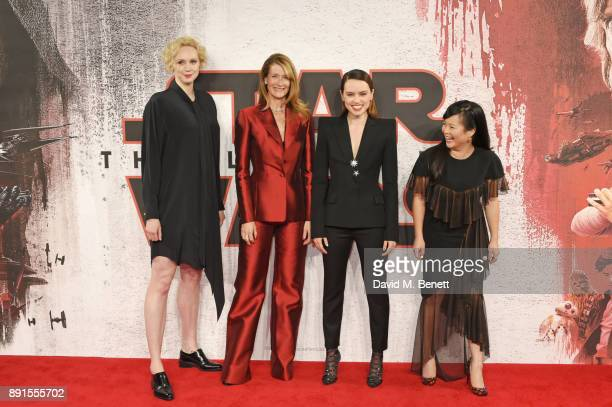 Gwendoline Christie, Laura Dern, Daisy Ridley and Kelly Marie Tran pose at the 'Star Wars: The Last Jedi' photocall at Corinthia Hotel London on...