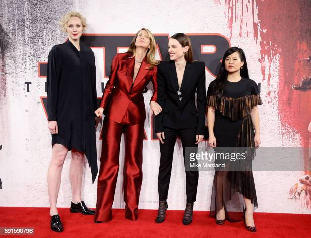 Gwendoline Christie Laura Dern Daisy Ridley and Kelly Marie Tran attend the 'Star Wars The Last Jedi' photocall at Corinthia Hotel London on December...