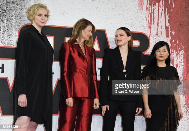 Gwendoline Christie Laura Dern Daisy Ridley and Kelly Marie Tran during the 'Star Wars The Last Jedi' photocall at Corinthia Hotel London on December...