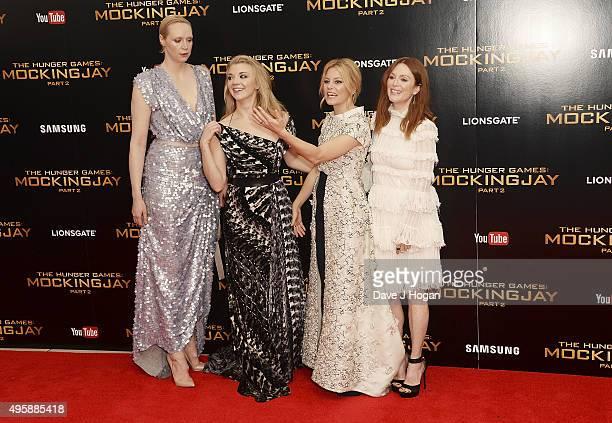 Gwendoline Christie Natalie Dormer Elizabeth Banks and Julianne Moore attend The Hunger Games Mockingjay Part 2 UK Premiere at Odeon Leicester Square...