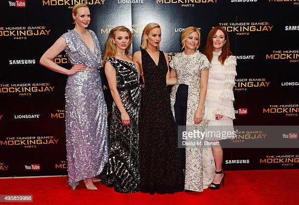 Gwendoline Christie Natalie Dormer Jennifer Lawrence Elizabeth Banks and Julianne Moore attend the UK Premiere of 'The Hunger Games Mockingjay Part...