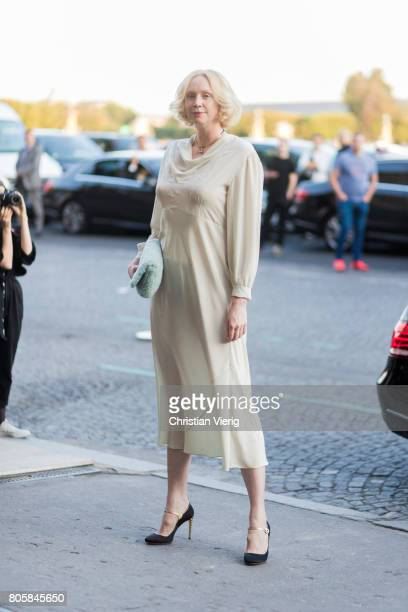 Gwendoline Christie outside Miu Miu Cruise Collection during Paris Fashion Week Haute Couture Fall/Winter 20172018 Day One on July 2 2017 in Paris...