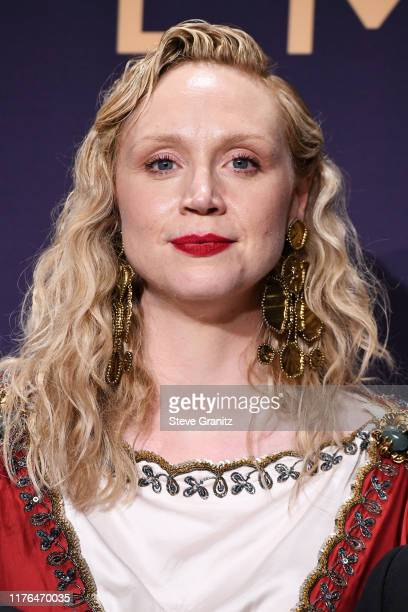 Gwendoline Christie poses in the press room during the 71st Emmy Awards at Microsoft Theater on September 22, 2019 in Los Angeles, California.