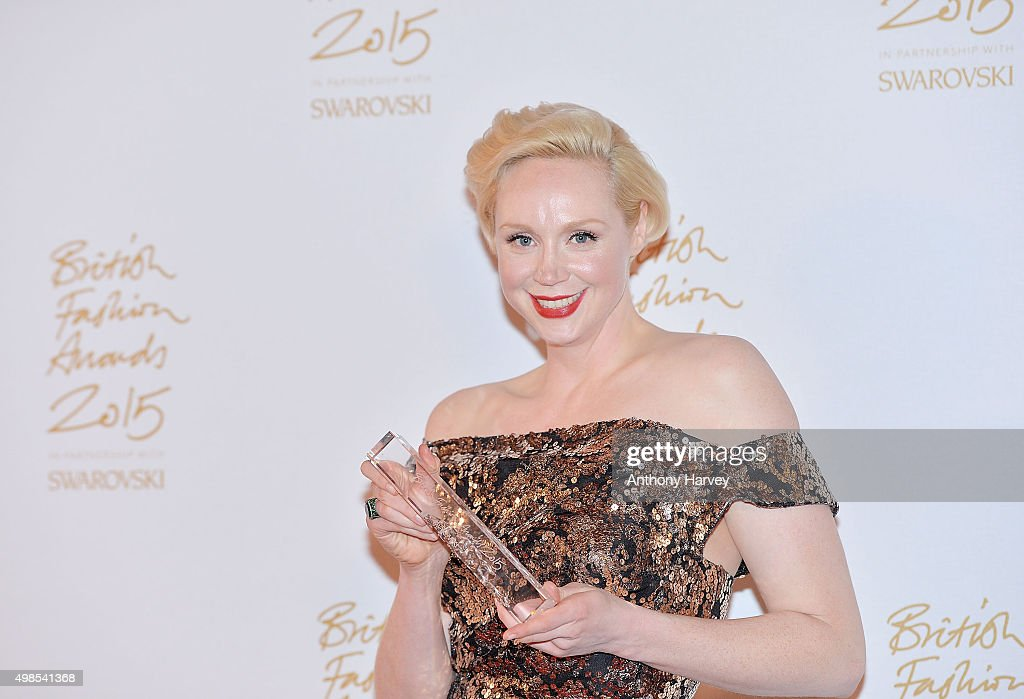 Gwendoline Christie poses in the Winners Room at the British Fashion Awards 2015 at London Coliseum on November 23, 2015 in London, England.