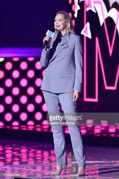 Gwendoline Christie speaks on stage during WE Day UK 2020 at The SSE Arena Wembley on March 04 2020 in London England