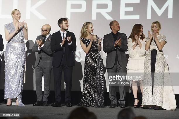 Gwendoline Christie Stanley Tucci Sam Claflin Natalie Dormer Woody Harrelson Julianne Moore and Elizabeth Banks attend The Hunger Games Mockingjay...