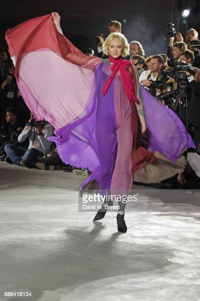 Gwendoline Christie walks the runway at the Fashion for Relief event during the 70th annual Cannes Film Festival at Aeroport Cannes Mandelieu on May...