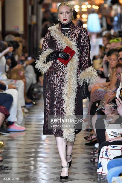Gwendoline Christie walks the runway during the finale of the Miu Miu 2019 Cruise Collection Show at Hotel Regina on June 30 2018 in Paris France