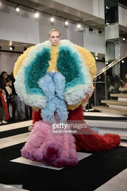 Gwendoline Christie walks the runway for the Tomo Koizumi fashion show during New York Fashion Week at Marc Jacobs Madison on February 8 2019 in New...