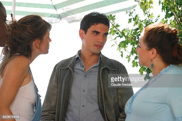 Gwendoline Hamon Stephane Metzger and Valerie Moreau film a scene on the set of the TV movie 'Julia Ferenzi une Amie en Or' directed by Eric Woreth  ...