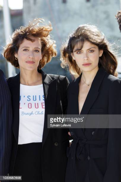 Gwendolyn Gouvernec and Leslie Medina attend day 4 photocall of 20th Festival of TV Fiction on September 15 2018 in La Rochelle France