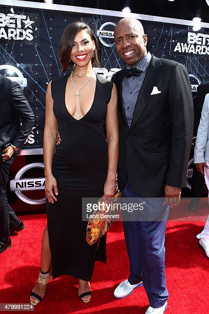 Gwendolyn Osborne and Ex NBA player Kenny Smith arrived at the BET Make A Wish Foundation Recipients BET Experience At LA Live Red Carpet arrivals...