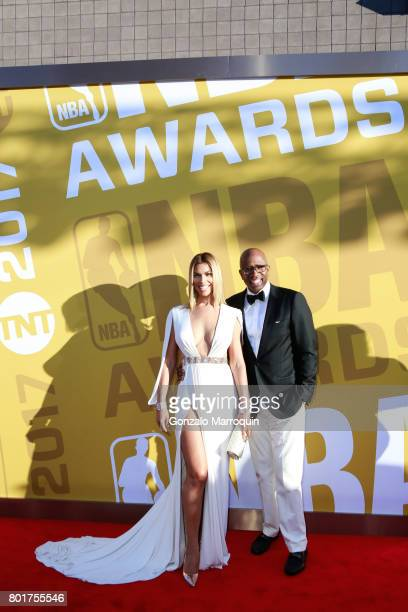Gwendolyn Osborne and Former NBA player Kenny Smith attend the 2017 NBA Awards at Basketball City Pier 36 South Street on June 26 2017 in New York...