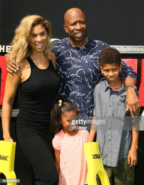 Gwendolyn Osborne and Kenny Smith attend the premiere of Warner Bros Pictures' 'The LEGO Ninjago Movie' on September 16 2017 in Westwood California