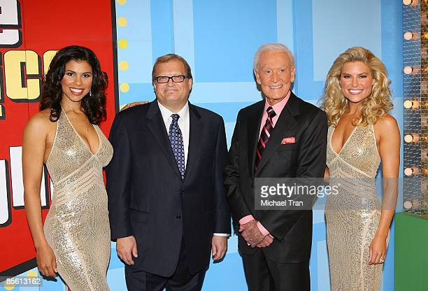 Gwendolyn Osborne Drew Carey Bob Barker and Rachel Reynolds attend the taping for The Price Is Right held at CBS Television Studios on March 25 2009...