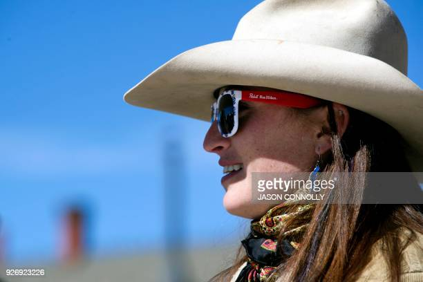Gwendolyn Parker waits to compete in Sport division of the the 70th annual Leadville Ski Joring weekend competition on March 3 2018 in Leadville...