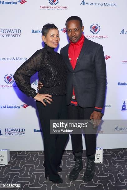 Gwendolyn Woods and Chris Chambers attend La La Anthony's PreGrammy Party Presented by Howard University on January 26 2018 in New York City