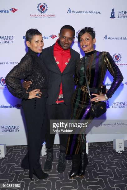 Gwendolyn Woods Chris Chambers and guest attend La La Anthony's PreGrammy Party Presented by Howard University on January 26 2018 in New York City