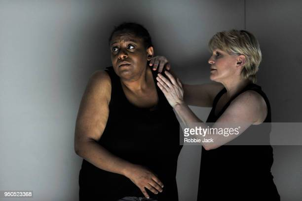 GwenethAnn Rand as Gwen and Lucy Schaufer as Lucy in the Royal Opera's production of Sarah Kane's 448 Psychosis directed by Ted Huffman and conducted...