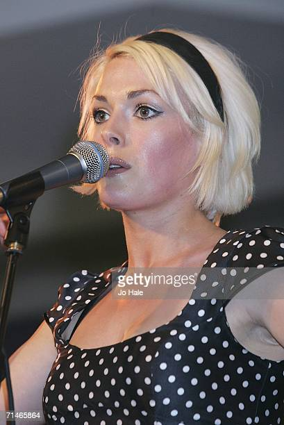 Gwenno Pippette of The Pipettes performs at HMV on July 17 2006 in London England