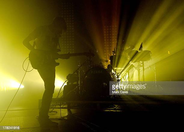 Gwil Sainsbury and Thom Green of the band Alt-J perform at the Hollywood Palladium on August 27, 2013 in Hollywood, California.