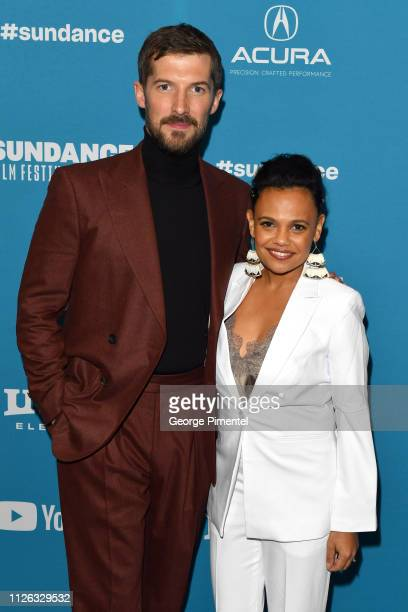 Gwilym Lee and Miranda Tapsell attend the Top End Wedding Premiere during the 2019 Sundance Film Festival at Eccles Center Theatre on January 30 2019...