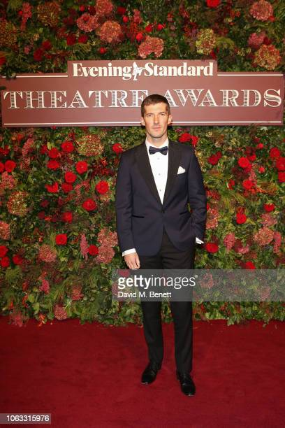 Gwilym Lee arrives at The 64th Evening Standard Theatre Awards at the Theatre Royal Drury Lane on November 18 2018 in London England