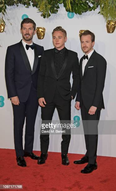 Gwilym Lee Ben Hardy and Joseph Mazzello attend the EE British Academy Film Awards at Royal Albert Hall on February 10 2019 in London England