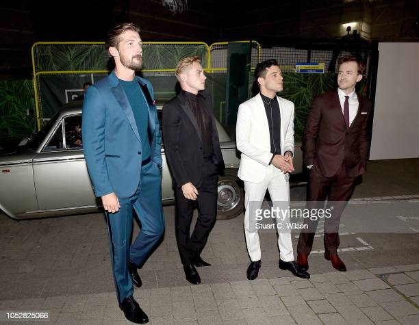 Gwilym Lee Ben Hardy Rami Malek and Joe Mazzello attend the World Premiere of 'Bohemian Rhapsody' at SSE Arena Wembley on October 23 2018 in London...