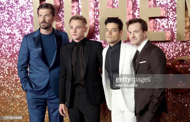 Gwilym Lee Ben Hardy Rami Malek and Joe Mazzello attend the World Premiere of 'Bohemian Rhapsody' at The SSE Arena Wembley on October 23 2018 in...