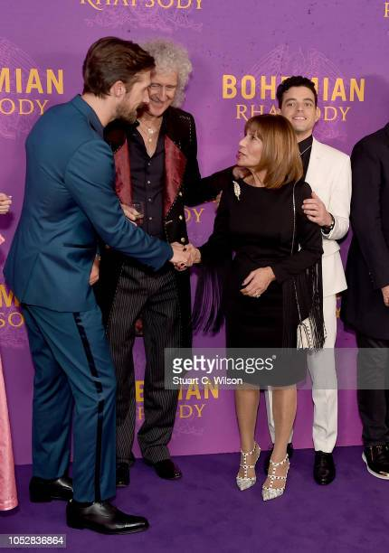 Gwilym Lee Brian May Kashmira Cooke and Rami Malek attend the World Premiere of 'Bohemian Rhapsody' at SSE Arena Wembley on October 23 2018 in London...
