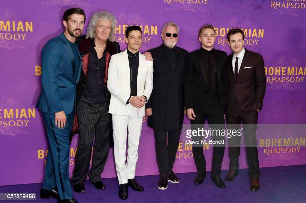 Gwilym Lee Brian May Rami Malek Roger Taylor Ben Hardy and Joe Mazzello attend the World Premiere of Bohemian Rhapsody at The SSE Arena Wembley on...