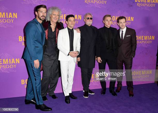 Gwilym Lee Brian May Rami Malek Roger Taylor Ben Hardy and Joe Mazzello attend the World Premiere of 'Bohemian Rhapsody' at SSE Arena Wembley on...
