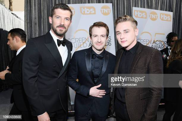 Gwilym Lee Joseph Mazzello and Ben Hardy attend the 25th Annual Screen Actors Guild Awards at The Shrine Auditorium on January 27 2019 in Los Angeles...