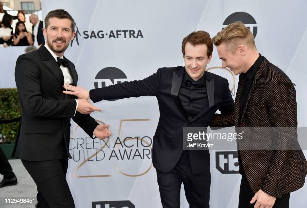 Gwilym Lee Joseph Mazzello and Ben Hardy attend the 25th Annual Screen ActorsGuild Awards at The Shrine Auditorium on January 27 2019 in Los Angeles...