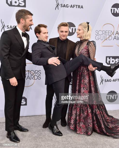 Gwilym Lee Joseph Mazzello Ben Hardy and Lucy Boynton attend the 25th Annual Screen Actors Guild Awards at The Shrine Auditorium on January 27 2019...