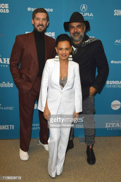 Gwilym Lee Miranda Tapsell and Wayne Blair attend the Top End Wedding Premiere during the 2019 Sundance Film Festival at Eccles Center Theatre on...