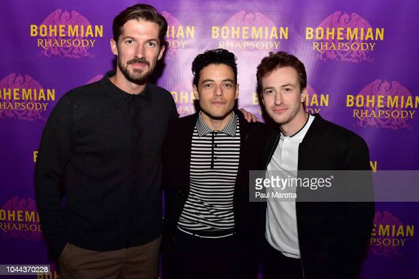 Gwilym Lee Rami Malek and Joseph Mazzello attend the Boston red carpet screening of 'Bohemian Rhapsody' the film about the rock band Queen and its...