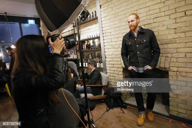 Gwilym Pugh, model and lifestyle blogger, poses for a photograph during a launch event for House 99, a grooming brand for men created by former...