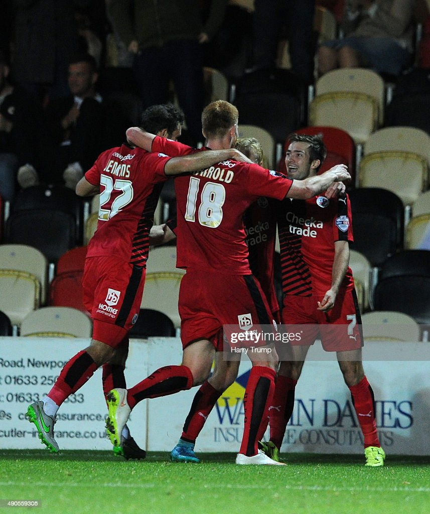 Gwion Edwards of Crawley Town(right) celebrates his sides first goal during the Sky Bet League Two match between Newport County and Crawley Town at Rodney Parade on September 29, 2015 in Newport, Wales.