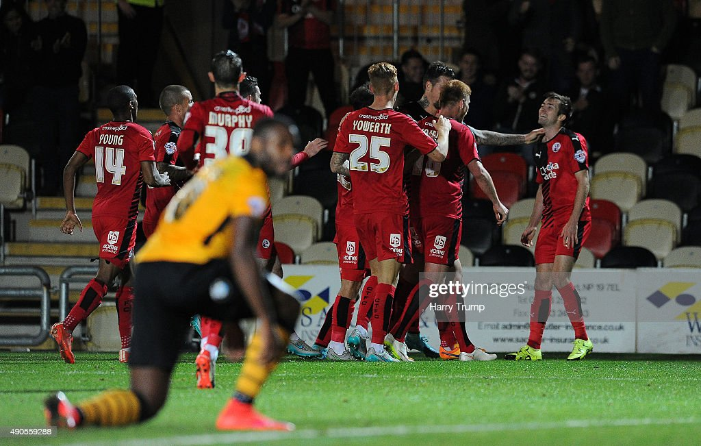 Gwion Edwards of Crawley Town celebrates his sides second goal during the Sky Bet League Two match between Newport County and Crawley Town at Rodney Parade on September 29, 2015 in Newport, Wales.
