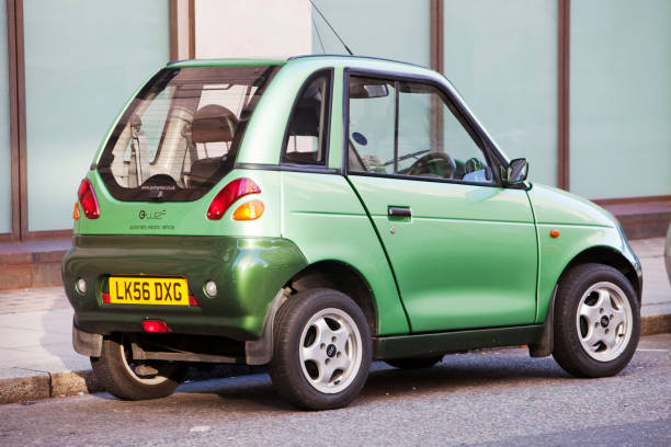 A G-Wiz electric car on the streets of London, UK.