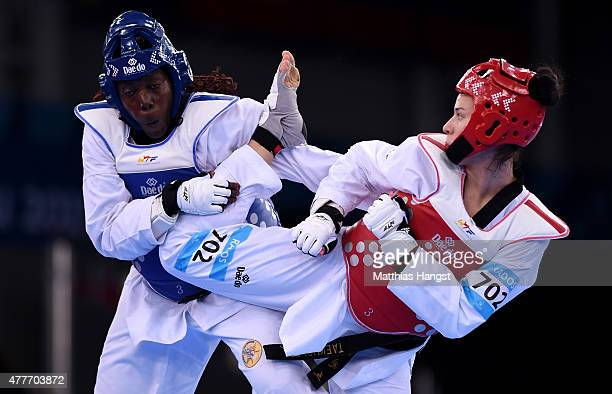Gwladys Epangue of France and Iva Rados of Croatia compete in the Women's 67kg Taekwondo Semi Final during day seven of the Baku 2015 European Games...