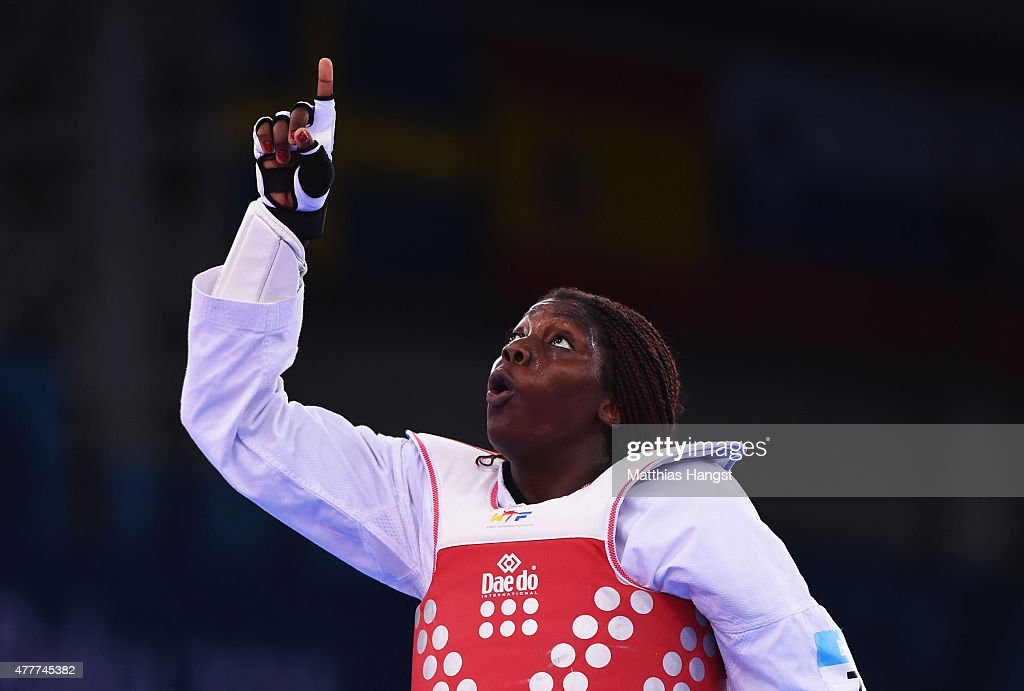 Gwladys Epangue of France celebrates defeating Milica Mandic of Serbia to win gold in the Women's +67kg Taekwondo gold medal final during day seven of the Baku 2015 European Games at the Crystal Hall on June 19, 2015 in Baku, Azerbaijan.