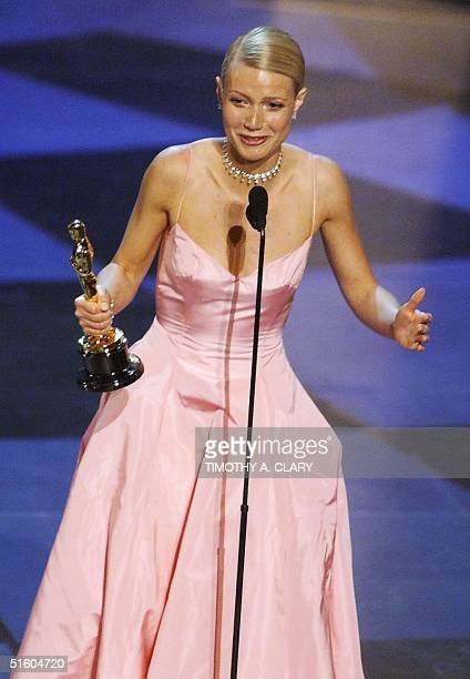 Gwyenth Paltrow holds her Oscar after winning for Best Performance by an Actress in a Leading Role for her part in the movie Shakespeare in Love...