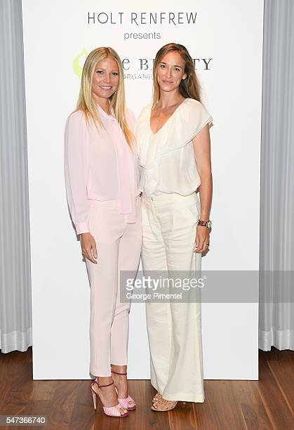 Gwyneth Paltrow and Alexandra Weston director of brand and creative strategy for Holt Renfrew attend the Juice Beauty Exclusive Personal Appearance...